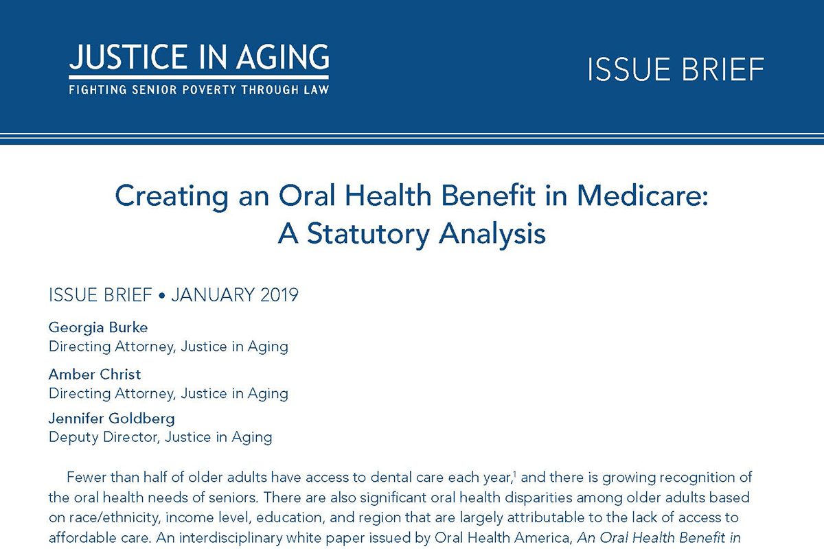 Justice in Aging Develops Statutory Analysis of an Oral Health Benefit in Medicare