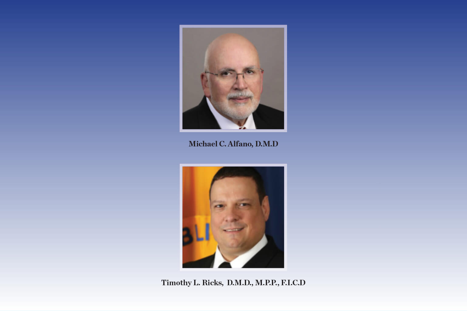 Santa Fe Group Congratulates Dr. Michael C. Alfano and Assistant Surgeon General Dr. Timothy L. Ricks on their Shils Fund Awards